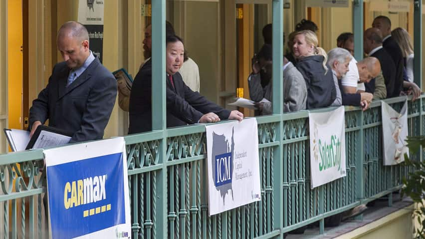 Job seekers wait for interviews at a retail and management professionals career fair in El Segundo, Calif., on Wednesday. Eurostat said unemployment rose to 11.1 per cent in May from 11 per cent the previous month in the 17-country euro currency bloc, which compares badly with an unemployment rate of 8.2 per cent in the U.S.