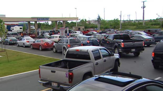 Motorists line up at the Costco gas bar in St. John's on Wednesday. An expected jump in gas prices came in lower than expected.