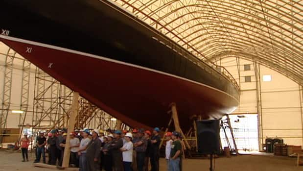 The Bluenose II is being renovated in the same shipyard where the original boat was built.