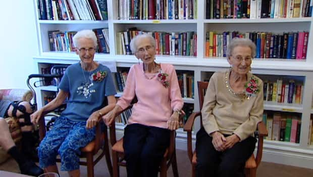 Three sisters (from left to right) 81-year-old Joan Delorey, 89-year-old Joy Van Norden, and 87-year-old Francis Sawler have donated land to Wild Rose Park. <br /> <em>CBC</em>
