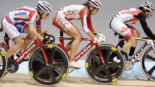 Female cyclists race during the elimination event of the women's omnium at the Track Cycling World Championships in Melbourne, Australia in April.