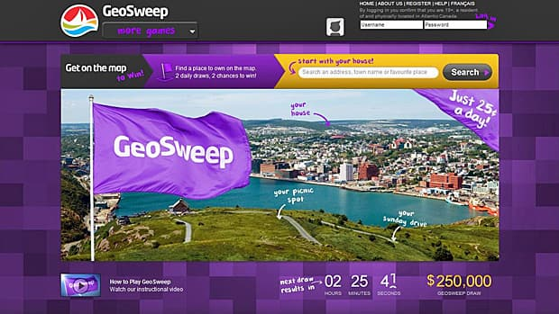 The New Brunswick government invested $2 million in the British online lottery game GeoSweep, which is now available to be played in Atlantic Canada.
