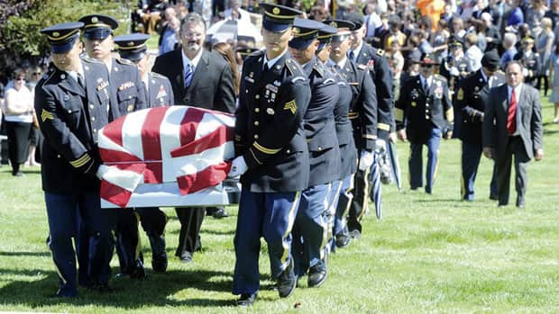 The California State Honor Guard carries the casket of Pfc. Rudy Acosta at a cemetery in Newhall, Calif. on March 31, 2011.