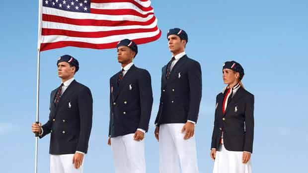 Swimmer Ryan Lochte, decathlete Bryan Clay, rower Giuseppe Lanzone and soccer player Heather Mitts, left to right, model the Team USA opening ceremonies uniform, created by Ralph Lauren and produced in China, for the London Games.