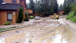 The clean-up begins Monday morning at Fairmont Hot Springs Resort following Sunday's mudslide.