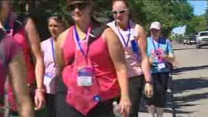 A group of Calgarians walking to raise money to fight cancer in the 2012 event.