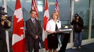 B.C. Environment Minister Terry Lake and Aboriginal Relations and Reconciliation Minister Mary Polak outlined the government's new position on heavy oil pipeline proposals on Monday morning in Vancouver.