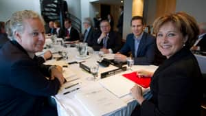 British Columbia Premier Christy Clark (right) hosted the previous Council of the Federation meeting in January. Both Clark and Quebec Premier Jean Charest (left) are up for re-election sometime in the next year: in Charest's case, possibly within days.
