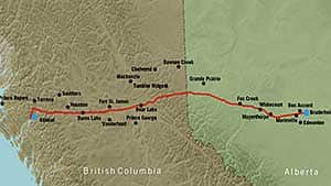 The proposed route for Enbridge's Northern Gateway Pipeline is from just north of Edmonton Alberta to Kitimat on the West Coast of B.C. Enbridge