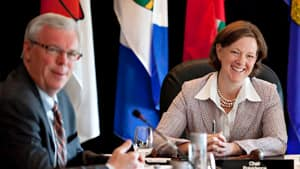 Manitoba Premier Greg Selinger and Alberta Premier Alison Redford, seen here at the Western Premiers meeting last May, will both make presentations to their fellow premiers in Halifax: Selinger will focus on the economy and federal-provincial transfer payments, while Redford will pitch a national energy strategy.