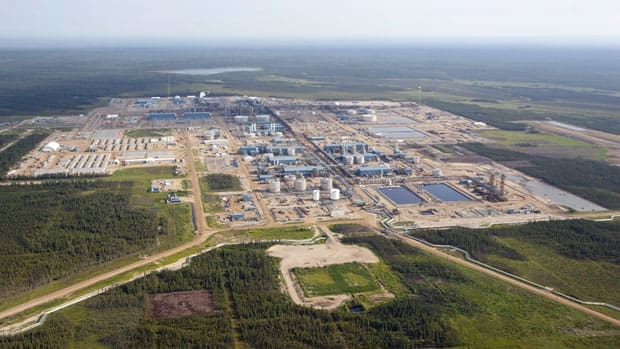 Suncor's Firebag oil sands facility is seen near Fort McMurray. The firm says its reviewing plans for future expansion projects.