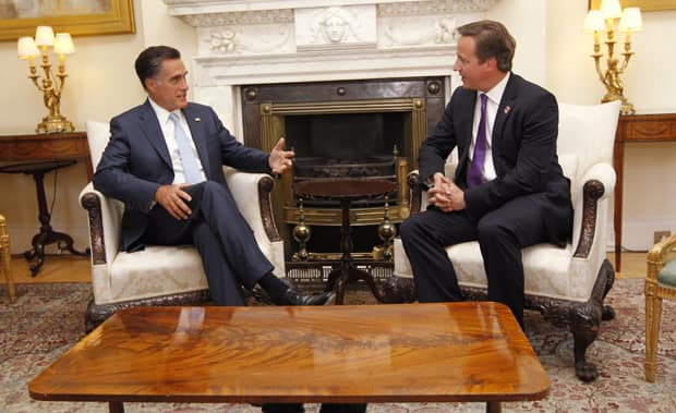U.S. Republican presidential candidate Mitt Romney meets with British Prime Minister David Cameron at 10 Downing Street.