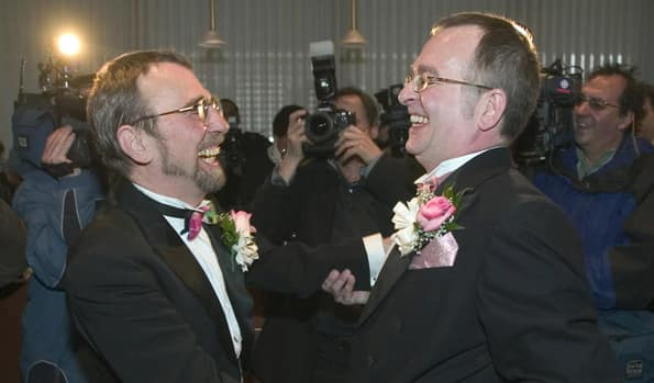 Hendricks and Leboeuf are seen here on their wedding day in 2004.