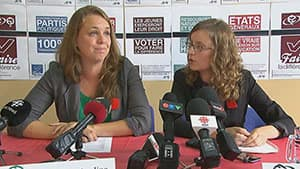 Martine Desjardins of the FEUQ and Eliane Laberge of the FECQ said their goal is to mobilize the youth vote.