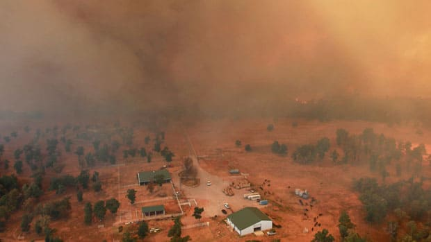 More than five dozen homes and buildings northeast of Oklahoma City were destroyed as several wildfires raged on in the drought-stricken Oklahoma countryside.