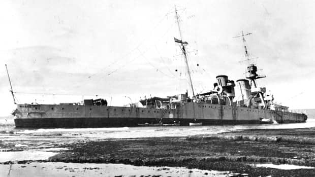 HMS Raleigh became infamous when it ran aground on a reef off the coast of southern Labrador in 1922.