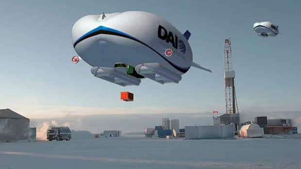 An artist's rendition of what the airship designed to fly in the Arctic would look like. Last August, Discovery Air announced it was working with British manufacturer Hybrid Air Vehicles Limited to design an airship for Canada's North.