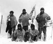 The members of Capt. Scott's ill fated South Pole expedition pose at the pole in January 1912.