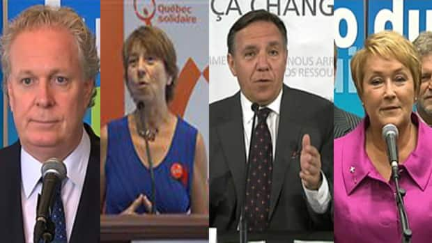 Leaders from four of Quebec's political parties will debate Sunday night.