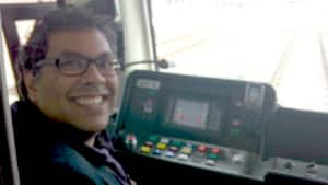 Calgary Mayor Naheed Nenshi drove the N.E. train at celebrations to mark the two new LRT station openings Saturday.