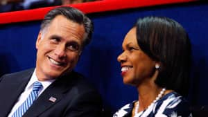 Republican presidential nominee Mitt Romney with fomer U.S. Secretary of State Condoleezza Rice at the 2012 Republican National Convention in Tampa, Fla.