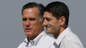 Mitt Romney, left, and Paul Ryan at a campaign stop Waterford, Mich., on Aug. 24.
