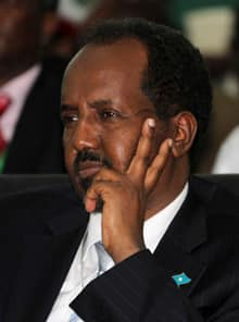Somalia's newly elected President Hassan Sheikh Mohamud listens to proceedings after his victory was announced in parliament on Monday in Mogadishu, the capital.