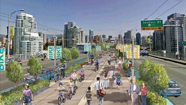 The city released this sketch of what the Granville Bridge might look like with the proposed pedestrian and bike lane.