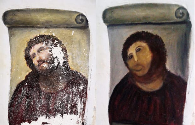 This combination of two photos shows the fresco of Christ before and after amateur artist Celia Gimenez took it upon herself to restore it in the church in Borja, Spain.