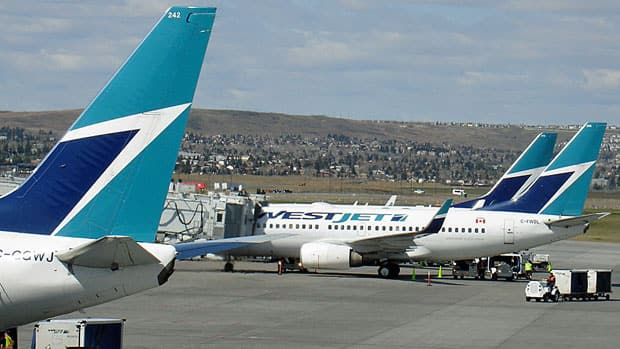 WestJet says demand last month grew faster than the capacity added to its main service for flights within Canada and some international destinations.