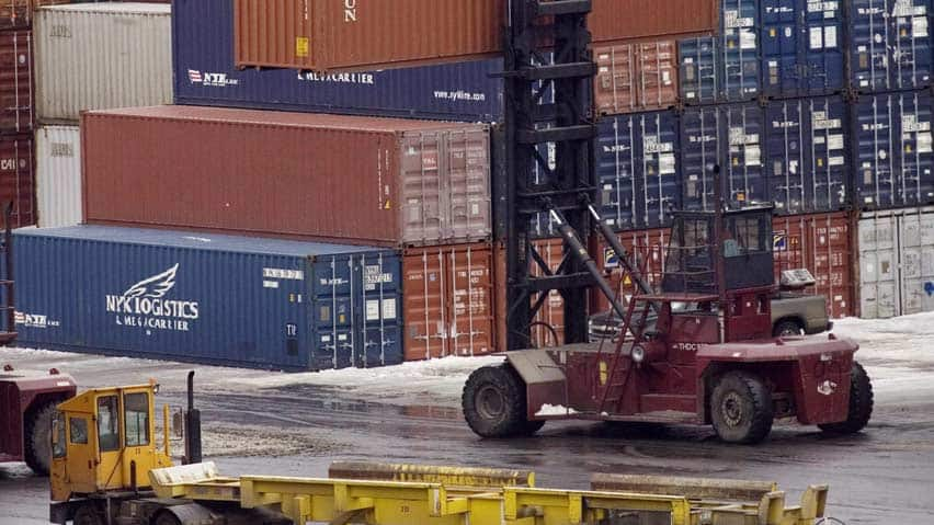 Canada's trade deficit shrank to $1.3 billion in August in part because of a major decline in shipments to Japan.