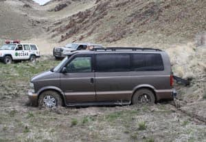 The van of Albert and Rita Chretien, shown in a May 2011 handout photo, got stuck on a snowy logging road in northeastern Nevada after the couple got lost during a road trip.