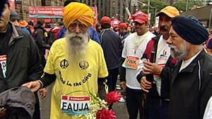 Fauja Singh, 101, ran the 5K course this year, a year after he ran the full marathon at age 100.