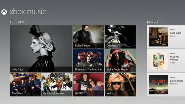 Tablets that run Microsoft's newest operating system, Windows 8, will be able to offer a new service called Xbox Music, allowing selection of millions of songs and streaming for free as long as users put up with an audio ad every 15 minutes.