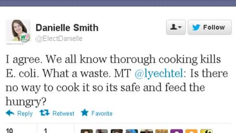 The tweet from the leader of Alberta's Official Opposition, Danielle Smith of the Wildrose Party.