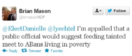 Alberta NDP Leader Brian Mason responded to Danielle Smith's comment on the social networking platform.