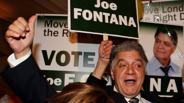 London, Ont., mayor Joe Fontana, shown here during his election night win in Oct. 2010, is the subject of a police investigation over allegations that federal government money was used to pay for part of his son's 2005 wedding.