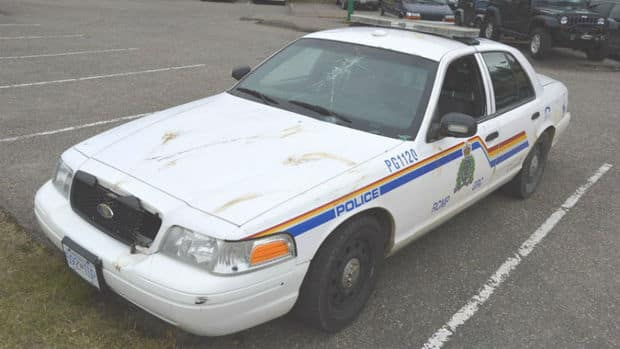 Destruction left behind by a bull moose after it attacked a police cruiser in the middle of the city of Prince George B.C. on Oct. 25, 2012.