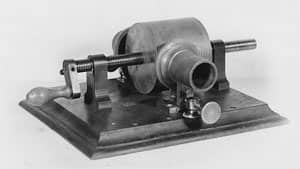 This photo provided by the Museum of Innovation and Science in Schenectady, N.Y., shows Thomas Edison's 1878 tinfoil phonograph.