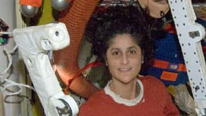 U.S. astronaut Sunita Williams and fellow crewmembers were able to make out the big swirl at the centre of Sandy as it neared land Monday.