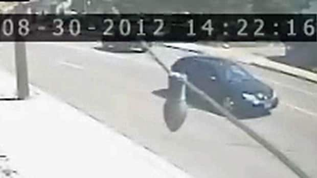 OPP said the male suspect left in a black small compact vehicle, which was caught on a surveillance camera.