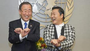 Korean rapper PSY, right, teaches UN Secretary-General Ban Ki-moon, left, how to dance to his massive hit Gangnam Style during a photo opportunity at the UN headquarters in New York.