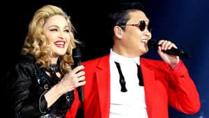 PSY joined Madonna and her dancers onstage to perform his hit song Gangnam Style during her MDNA concert in New York on Nov. 13.