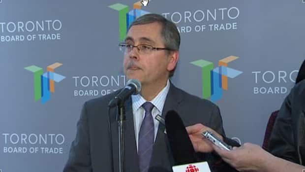 Metrolinx president and CEO Bruce McCuaig speaks at a news conference at the Toronto Board of Trade on Thursday.