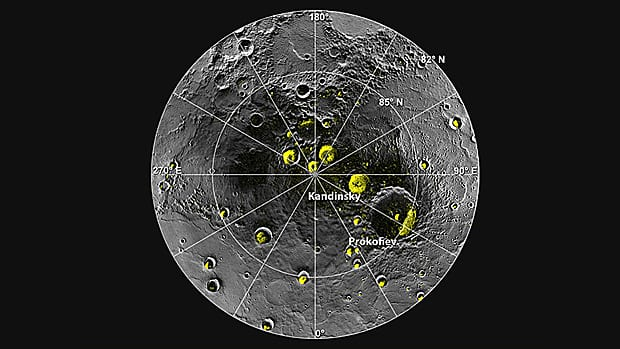 NASA scientists say there is perhaps as much as one trillion tonnes of frozen water on the surface of Mercury, indicated by the green spots on this image of its north pole.