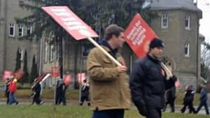 Teachers hit the picket lines in Stratford, Ont., on Monday. Rotating one-day strikes are expected to continue across the province this week.