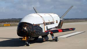 The X-37B unmanned spacecraft, shown in this undated image, was launched at Cape Canaveral on Tuesday hidden on top of an Atlas V rocket.
