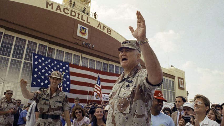In this April 22, 1991, file photo, Gen. H. Norman Schwarzkopf waves to the crowd after a military band played a song in his honour at welcome home ceremonies at MacDill Air Force Base in Tampa, Fla.