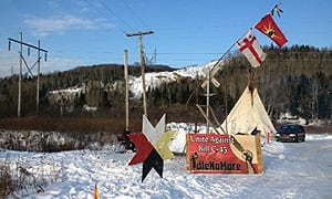 Demonstrators from the Listuguj Mi'gmaq community set up the blockade on the rail line on Dec. 27.