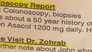 Toljanich's medical records note his 50-year history with ulcerative colitis and the preventative drug he takes.